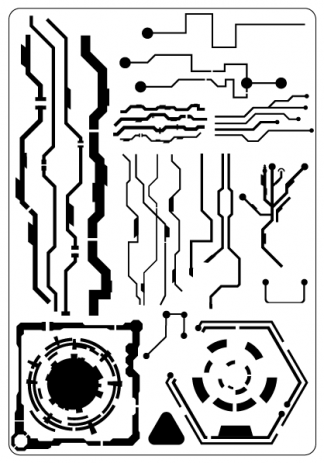 scifi patterns airbrush stencil circuits