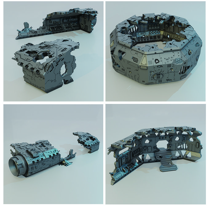 3D printable spaceship Graveyard