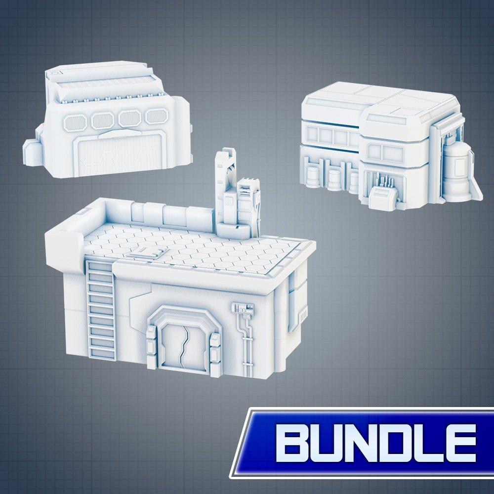 Sci-fi Buildings STL 3D printable BUNDLE