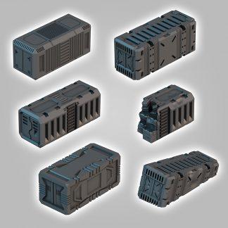 scifi terrain saucermen studios 28mm 32mm wargame scenery, cargo, spaceport, containers