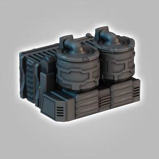 3D printed terrain stl file wargamescifi terrain saucermen studios 28mm 32mm wargame scenery, industrial terrain, liquid fuel tanks scifi